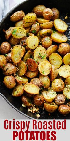 Recipes - Crispy Roasted Potatoes super crispy and crunchy roasted potatoes ever with garlic and herb infused oil This recipe is a keeper rasamalaysia com Healthy Eating Tips, Clean Eating Snacks, Healthy Recipes, Advocare Recipes, Salad Recipes, Healthy Food, Crispy Potatoes, Oven Potatoes, Vegan Recipes