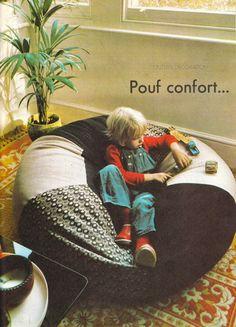 DIY vintage, couture, tricot, loisirs créatifs, années 70: Des accessoires pour la déco : pouf et coussins