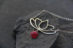 Handmade lotus necklace in sterling silver or by Keepandcherish