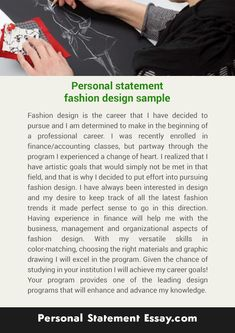 Personal Statement Fashion Design Sample Johncompton123 On Pinterest