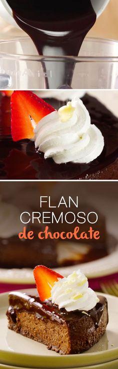 Jamás habías probado un postre tan rico y fácil como este flan de chocolate casero. Perfecto para una cena romántica de aniversario o #sanvalentin