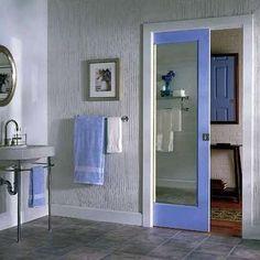 Sliding Pocket Door saves space in the bathroom