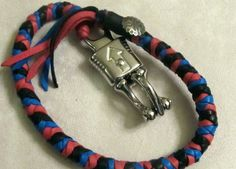 Leather Motorcycle Get Back Whip Black Red by OldDogLeather, $25.99
