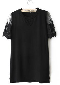 Black Contrast Lace Short Sleeve Dipped Hem T-Shirt