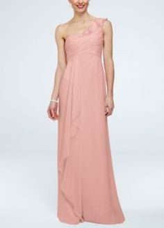 David's Bridal: NEW! One Shoulder Chiffon Dress with Cascading Detail Style F15734 In Stores and Online Buy Now $149.00