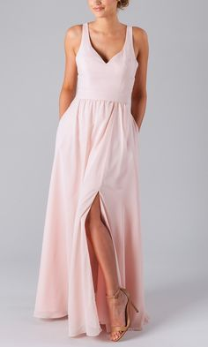 Trendy blush champagne tank top long slit a-line skirt bridesmaid dress. Crafted from soft, luxe chiffon fabric, it features tank top bodice with v-neckline, flattering natural waist and sweeping floor chiffon a-line skirt with slit. Light Blue Bridesmaid Dresses, Blue Bridesmaids, Junior Bridesmaids, Bridesmaid Hair, Pink Dresses, Formal Dresses, V Neck Dress, The Dress, Dress Backs