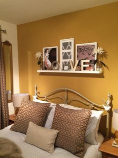 52 Super Ideas For Decor Wall In Living Room Bedroom Colors Bedroom Wall Colors, Gold Bedroom, Room Paint Colors, Bedroom Yellow, Mustard Bedroom, Living Room Paint, Living Room Bedroom, Bedroom Decor, Bedroom Ideas