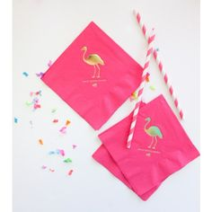Hot Pink Cocktail Napkins - with a gold FLAMINGO!