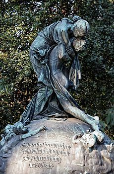 Mourning Woman hugging her son, historic grave sculpture, Nordfriedhof Cemetery, Duesseldorf,