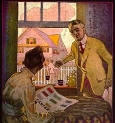 This 1916 image shows a painter using Carter White Lead paint while the woman is reading a color sampling from the company.