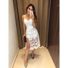 Vestido-Esther Modest Dresses, Simple Dresses, Beautiful Dresses, Short Dresses, Lace Dress, White Dress, Dress Suits, Homecoming Dresses, Marie