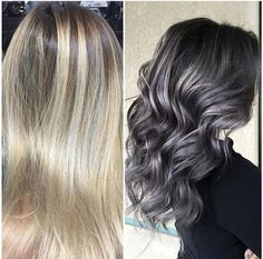 This dramatic transformation - from perfectly pretty blonde to striking, stormy silver/grey--was created by @sydniiee who works her magic in Visalia, CA. FORMULA: Kenra Professional 7SM and 8VM (2:1 parts) with Blue additive on the roots and 7VM and 8VM (equal parts) with Violet additive on the ends.