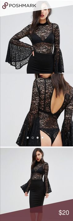 Asos bodysuit Asos club L lace bodysuit with sleeves new with tags. product code: 1087454  Size UK 6/EU 34/US 2 (referrer to Asos sizing) size xs-small ASOS Intimates & Sleepwear