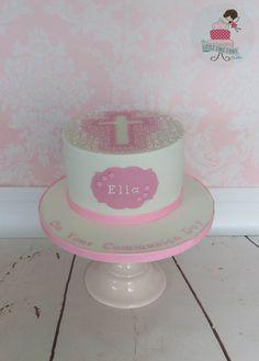 Floral Cross Cake  www.littlecakefairydublin.com www.facebook.com/littlecakefairydublin Cross Cakes, Little Cakes, Baby Shower Cakes, Christening, Facebook, Floral, Desserts, Food, Cakes Baby Showers