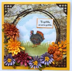 Here's a card from Susan Tierney-Cockburn that we can all be thankful for. No Thanksgiving card would be complete without a turkey! Here, Susan gets hers from her own CountryScapes Critters 6 set. She surrounds her scene with gorgeous flowers from her Garden Notes collection. We love how she laid the scene against Els's Through the Lens Patterned Cardstock (Stone Series). Buy the supplies here: https://www.elizabethcraftdesigns.com/.
