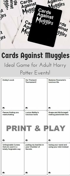 Cards Against Muggles- an amazing Harry Potter themed version of Cards Against Humanity. Meant for adult sense of humor, you'll be busting your sides from laughing. #harrypotter #cardsagainsthumanity #cardsagainstmuggles #muggles #wizard #harrypotterparty #game #cardgame #affiliatelink
