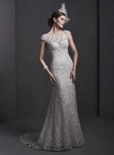 Sottero and Midgley by Maggie Sottero Elaborate lace adorns this sheath wedding gown, with sparkling Swarovski crystals and pearls adorning a bateau neckline. Wedding Dresses Photos, Wedding Dress Styles, Bridal Dresses, Wedding Gowns, Bridesmaid Dresses, Prom Dresses, Perfect Wedding Dress, Cheap Wedding Dress, Sottero And Midgley Wedding Dresses