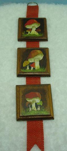 1970's hand painted Mushrooms Wall Decor