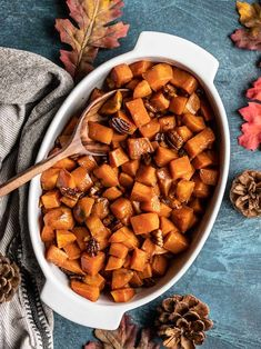 Maple Roasted Sweet Potatoes with Pecans (aka Candied Yams) are an easy, classic Thanksgiving side dish that everyone will love. BudgetBytes.com #thanksgiving #sweetpotatoes