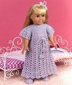 Free Crochet Pattern - Long Nightgown - Sleepwear - Nighty - 18-inch doll
