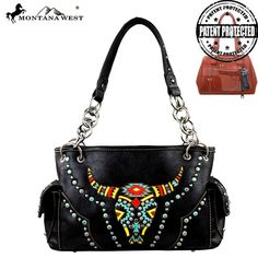 Made of PU distressed leather, this handbag has: - Colorful embroidery longhorn - Embellished with antique silver and patina studs - A zippered enclosure on the top of the bag - A zippered pocket on t