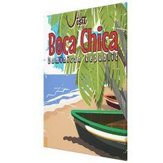 Boca Chicavintage travel poster Canvas Print