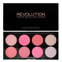MAKEUP REVOLUTION Ultra Blush Palette All About Pink - paleta 4 prasowanych róży zarówno matowych jak i połyskujących dopełniona dwoma rozświetlaczami.