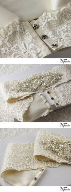 "Wedding Sash, Heirloom Lace Bridal Sash - I like how it attaches..just ass a ""tail"" of ribbon to flow down it and a bow and its perfect for the girls"