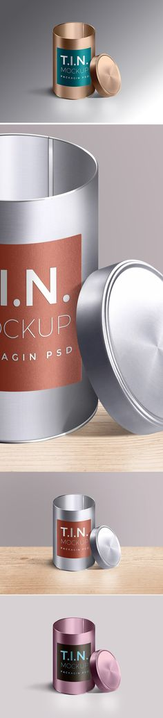 Photorealistic PSD mockup of packaging metal tin container to showcase your packaging brand identity or design.