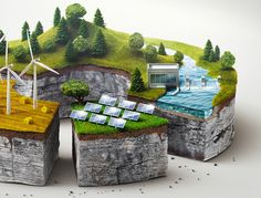 campaign for austrian electricity provider, showing miniature worlds as charts. the CGI modeling and rendering is done in Maya. the final texturising and retouchning is done in Photoshop.