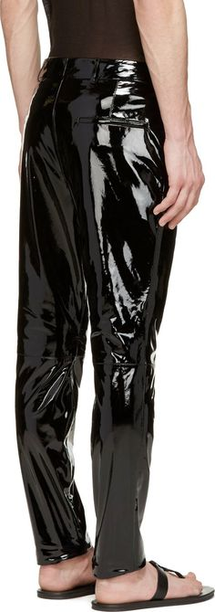 Haider Ackermann Black Patent Leather Trousers