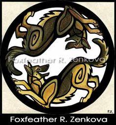 Yin Yang German Shepherd Painting Print - Wall art, Giclee, totem, yin-yang, GSD, Alsatian, circle, breed, dog, sable on Etsy, $28.00