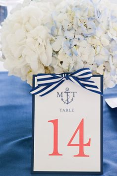 Nautical striped table numbers.