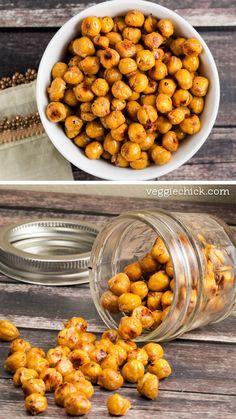 Simple Asian Roasted Chickpeas via veggiechick.com #vegan #snack