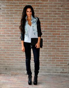 Black skinny's, white v-neck, and a denim jacket. Oh did I mention her beautiful long hair!