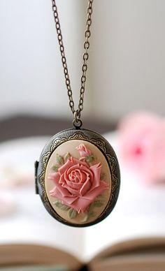Rose Cameo Locket Necklace. Dark Ivory Dusky Pink Rose Vintage Style Antique Brass Oval Locket Necklace. Bithday Christmas Gift by LeChaim