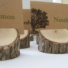 Wood Place card holders - perfect for fall events!    www.wedinthecity.com