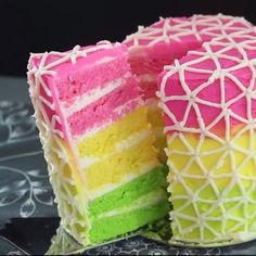 The perfect dessert for music festivals – this cake is as loud as the music! Just Desserts, Delicious Desserts, Dessert Recipes, Yummy Food, Party Desserts, Party Snacks, Tasty, Neon Cakes, Rainbow Food
