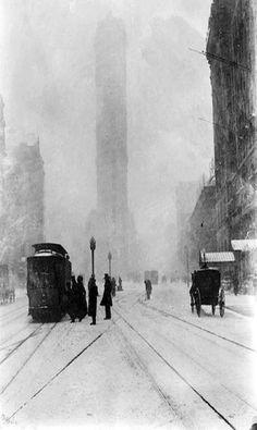 Blizzard in Times Square circa 1905. Jessie Tarbox Beals.
