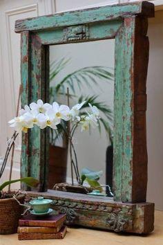 Bohemian Nation Distressed Mirror, Antiqued Mirror, Mirror Mirror, Reclaimed Wood Mirror, Mirror Ideas, Salvaged Wood, Vintage Western Decor, Rustic Decor, Vintage Display