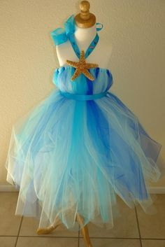 Starfish blue ombre dress flower girl