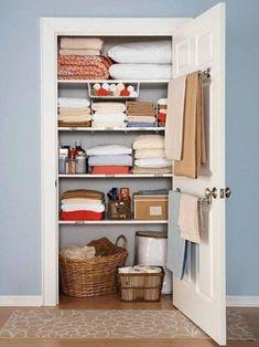 Airing Cupboard, Cupboard Storage, Linen Cupboard, Kitchen Storage, Clothes Hanger Storage, Clothing Storage, Storage Hooks, Apartment Closet Organization, Organization Ideas