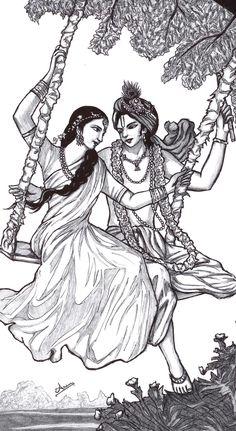 wanted to draw it. coz it was so beautiful n cute ^^ Hare Krishna^_^ Krsna_Radha_swing Radha Krishna Sketch, Krishna Drawing, Krishna Painting, Krishna Art, Lord Krishna, Radhe Krishna, Krishna Images, Art Drawings Sketches Simple, Pencil Art Drawings