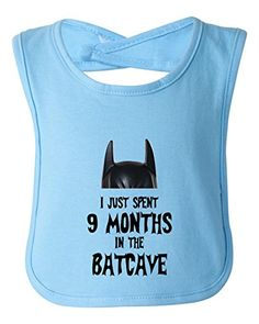I Just Spent 9 Months In The Batcave Infant Toddler Superhero Bib Funny Baby Shower Gift by BeeGeeTees Blue >>> Click image for more details.Note:It is affiliate link to Amazon.