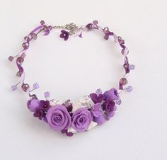 Purple flower necklace Purple rose necklace Rose by insou on Etsy, $33.60