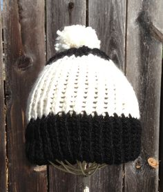White and black beanie