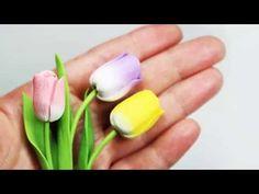 Очаровательные тюльпаны из полимерной глины на День матери - YouTube