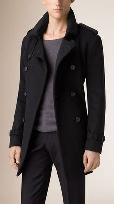 Mid-Length Virgin Wool Cashmere Trench Coat