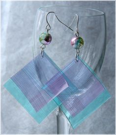 Colored Squares / Plastic Bottle Earrings