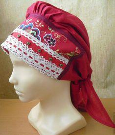 Купить Головной убор - бордовый, сорока, русский платок, кокошник, русский головной убор, повойник
